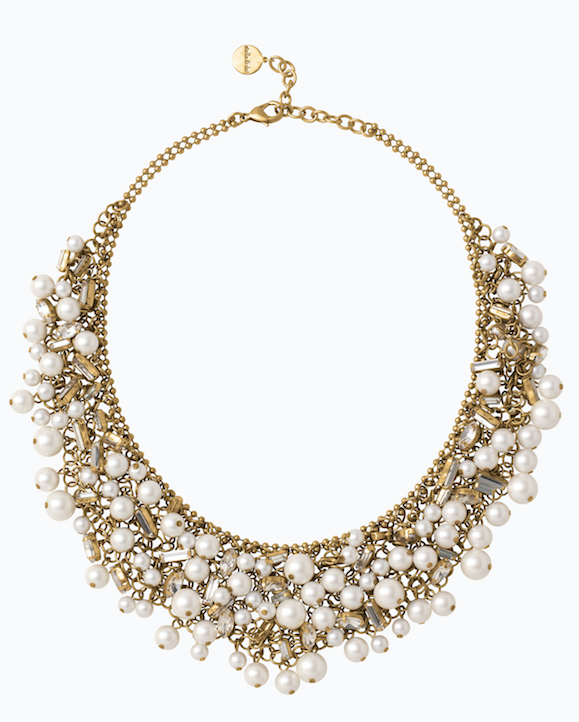 Eve Bib - These are not your mother's pearls! An explosion of glass pearls and sparkly baguettes hang from a mesh gold chain for the ultimate statement style. Wear it with your favorite plain tee and distressed jeans for a cool-girl look that's all your own. Want something a little less dramatic? Wear it flipped over for a cool monochromatic gold look.