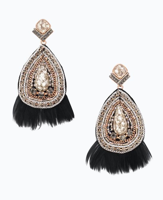 Constantine Earrings - 2017 is the year of the statement earring so don't let the year end before you try this sparkly feathered style. Mix your metals with this silver and rose gold earring for a look that's fresh and stylish.