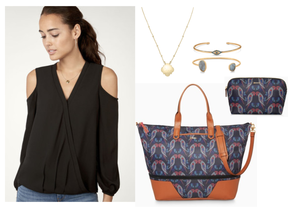 The Stylish Traveler Outfit  - Travel in style this year with the trendy Everett Cold Shoulder Top and our famous Getaway Bags! The Lovebirds Getaway and the Hideaway Pouch have a gorgeous fall-friendly color palette and an adorable and whimsical print. Top off your look with delicate layers like the Signature Engravable Clover Necklace with your initials or special date.