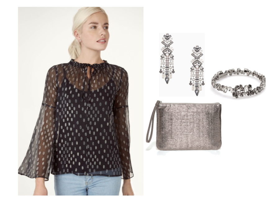The Dressed Up Outfit  - The Aria Top is the perfect starting point for making a statement this season. It features a sheer body with silver metallic threads throughout and an on-trend bell sleeve. Finish the look with a statement earring like the Cascading Crystal Chandeliers to add some sparkle.