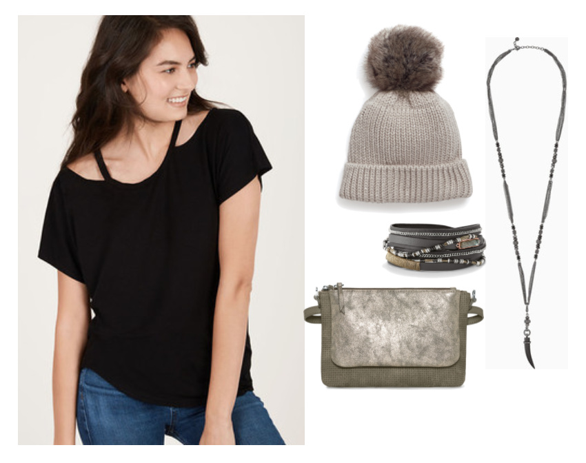 The Casual Outfit  - Plans for a low-key dinner or Friendsgiving celebration? It doesn't mean you have to sacrifice style! The Willow Cut Out Knit Top is the perfect top for a cozy but stylish look. It's a super soft jersey knit and will be extra forgiving when you decide one slice of pie just wasn't enough! ;) (No judgement here!) Finish your look with mixed metals like the Arlo Horn Necklace and the Yves Wrap Bracelet.