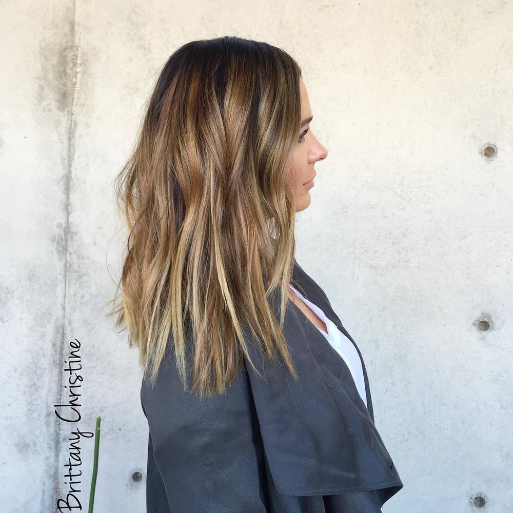 In Brittany's words . . . Chopped about 8 inches off. - Balayage in foils, with a base & a glaze.