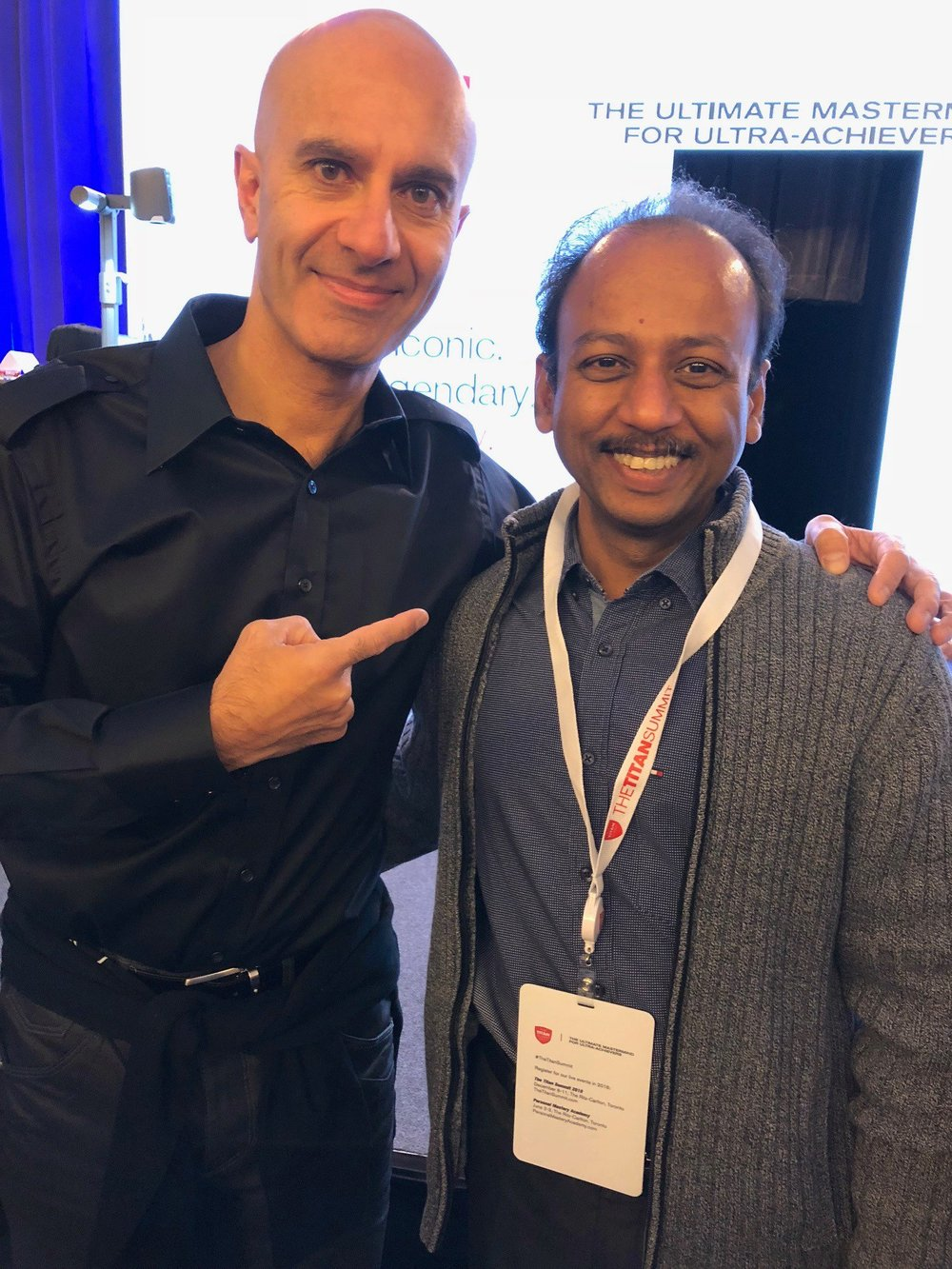 DECEMBER 2017:   Dileep Punalur  (right), ceo of  vacker global , and  robin sharma  (left), author of  The Monk Who Sold His Ferrari