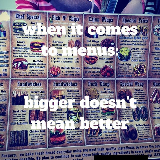 Is it time to clean up your menu? Too many choices creates confusion and inventory waste... #keepitsimple #keepitclean #foodtruck #menu