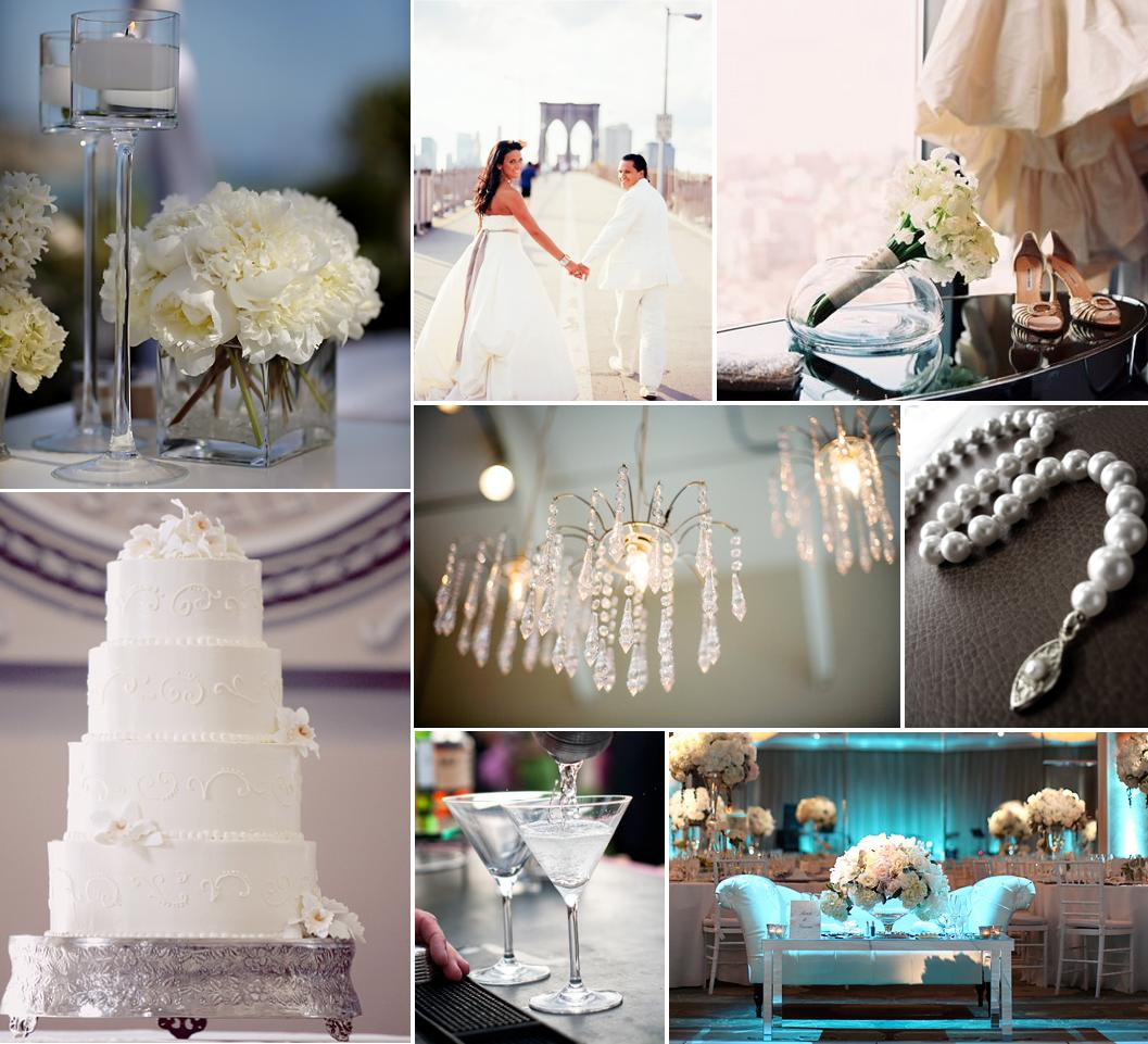 {left to right - row 1: floral decor & candle shot by Jasmine Star, bride and groom shot by Robert Sukrachand, bride's items shot by Karen Hill Photography; row 2: all-white wedding cake shot by Leigh Miller Photography, crystal chandelier shot by Christine Gallagher, pearls shot by Simply Bloom Photography; row 3:  mixed drink shot by Victor C Sizemore Photography, reception decor shot by Jasmine Star}