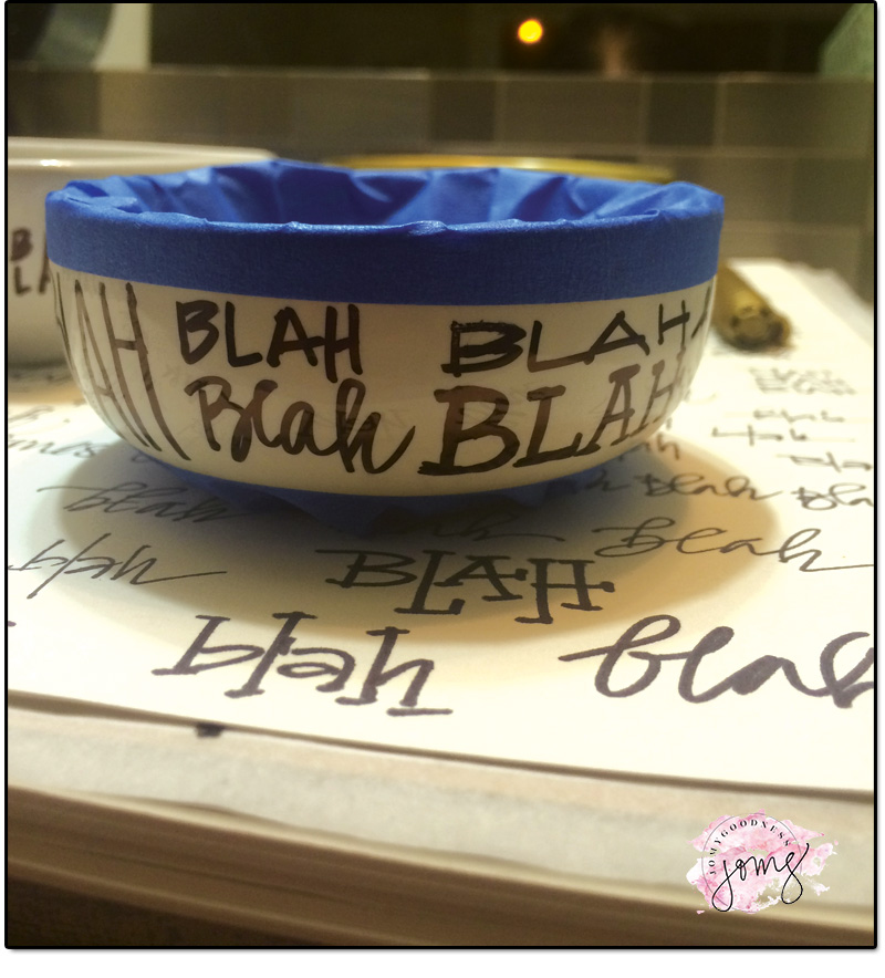 DIY Ceramic Dish Custom with Sharpie - Blah Blah Blah