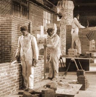 Young stone masonry students.