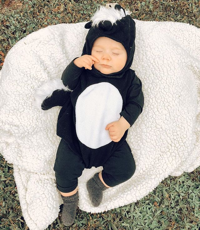 this stinker slept through his 1st halloween 👻