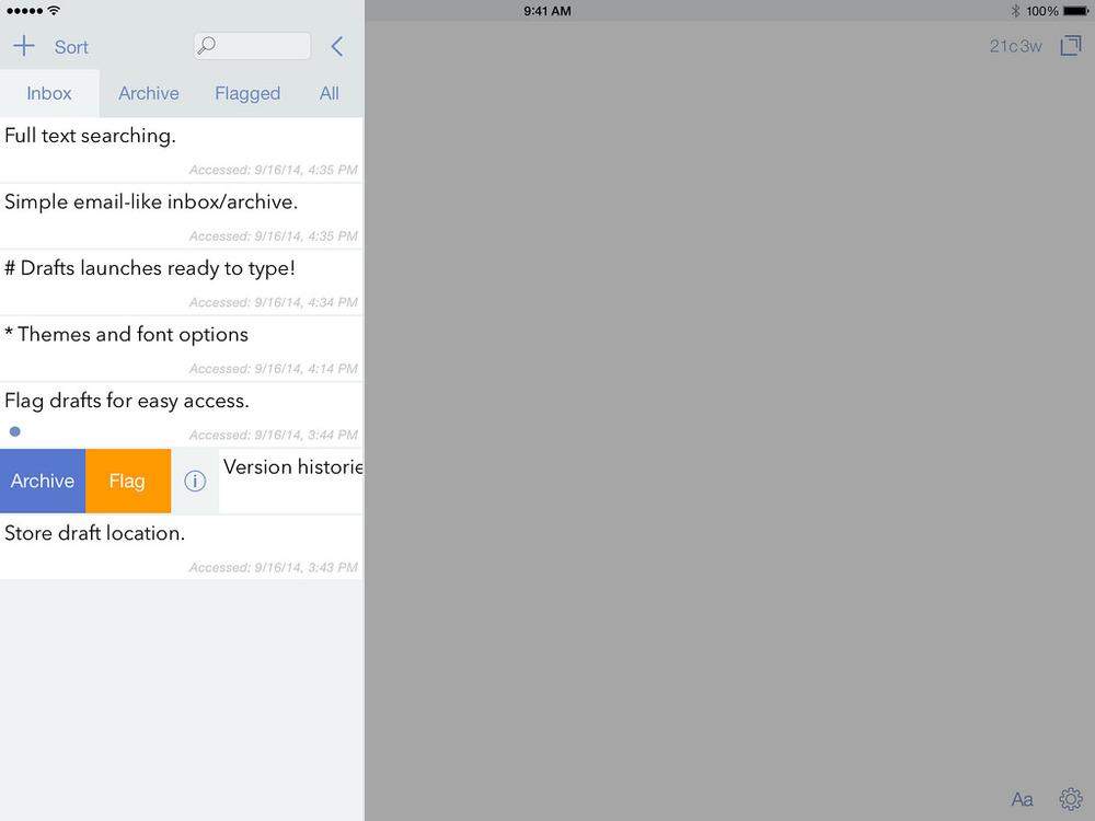 Asi es Drafts en el iPad. Imágen tomada de agiletortoise.com/drafts/