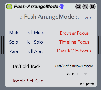 Dispositivo Push Arrange Mode