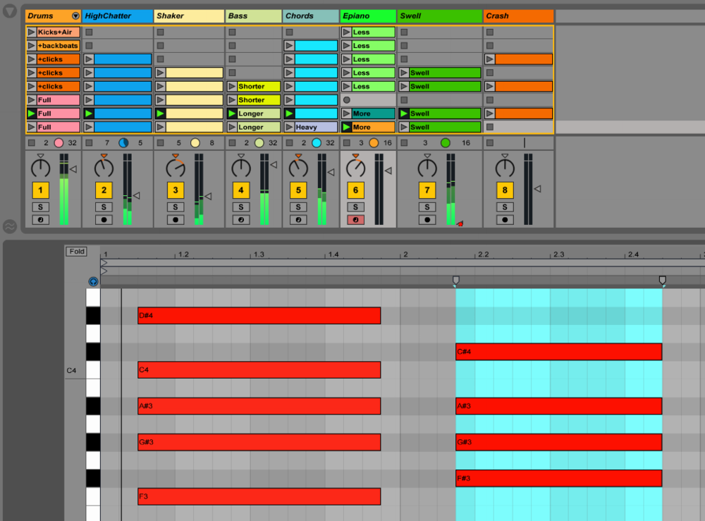 Ableton Live, Piano Roll y Session View.