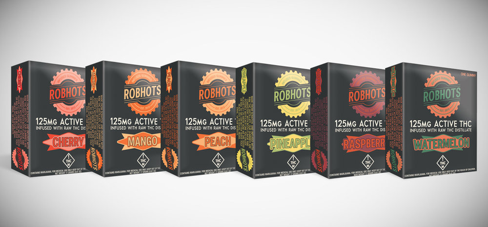 The new Robhots Gummies lineup - six flavors, six colorways of the new logo; all distillate infused.