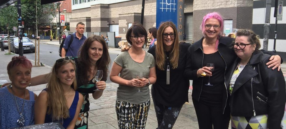 "DCS Los Angeles went to London for the BBC ""All in the Mind"" awards.  We met all of these lovelies for the first time that night.  From left to right, Freda, DCS Peebles, Stephanie, Liz of Bu Bakes fame, the great Kate of Cakeadoodledo, Val, Lou of Lou Lou P's Delights, and our beloved Julie"