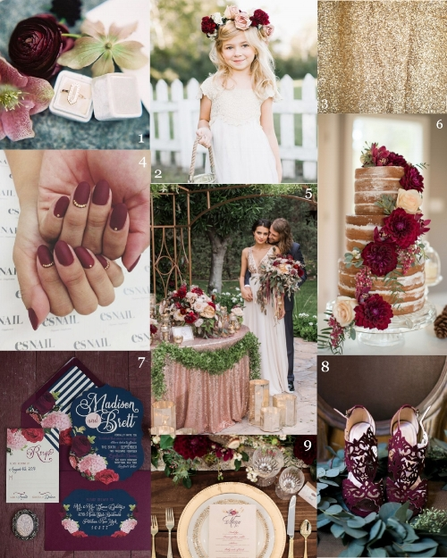 1. Ring box: Mrs. Box, Photo by Leah Golder, Styled by Chic and Pretty Events 2. Flower girl: Photo by Kristen Kilpatrick 3. Backdrop: Oh Happy Day Booth 4. Nails: Via BuzzFeed 5. Couple: Photo by Erica Velasco Photographers 6. Cake: Photo by Ashley Cook Photography 7. Invitation Suite: Laura Damiano Designs, Photo by @girlyhammer 8. Shoes: Photo by Tina Chiou Photography 9. Tablescape: Photo by Ashley Cook Photography