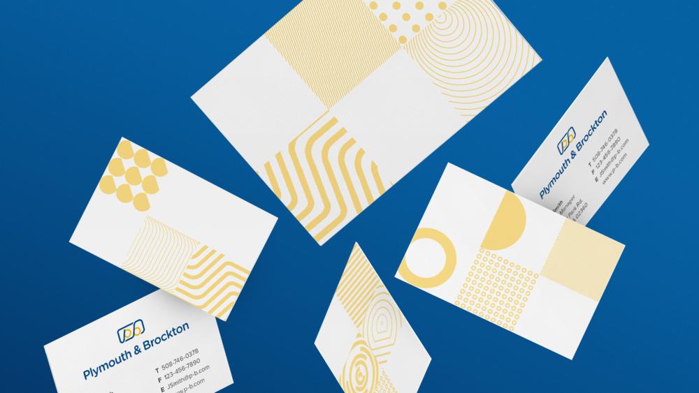 Plymouth brockton rebrand graphic designer boston rj foley iv plymouth brockton modular pattern business cards colourmoves