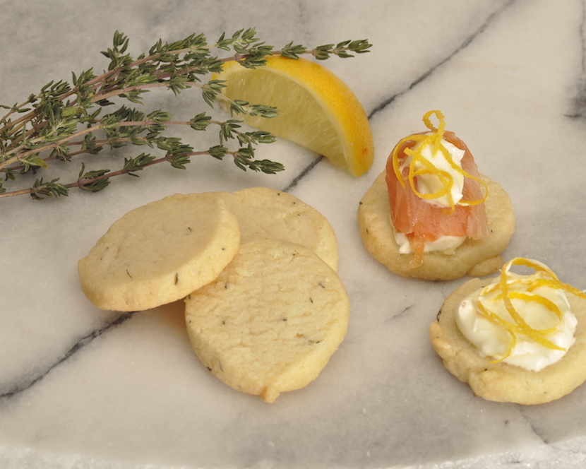 Lemon Thyme Shortbread with Salmon and Creme Fraiche