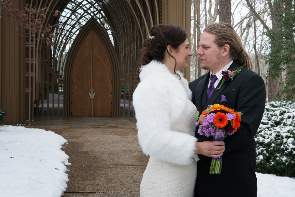 Bride and Groom in Snow, Mildred Cooper Chapel