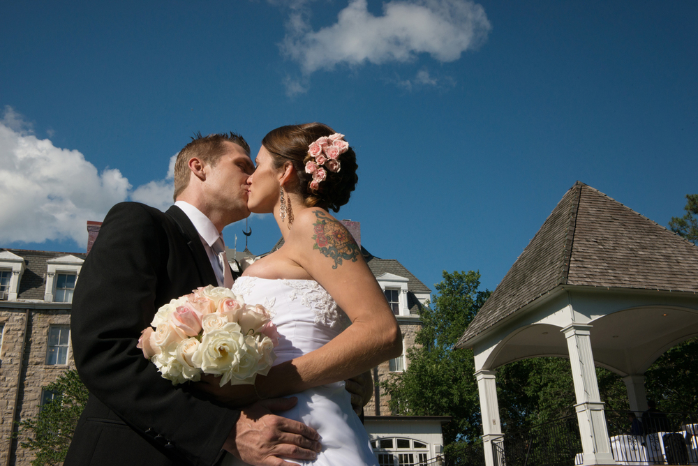 Bride and Groom kissing, Crescent Hotel