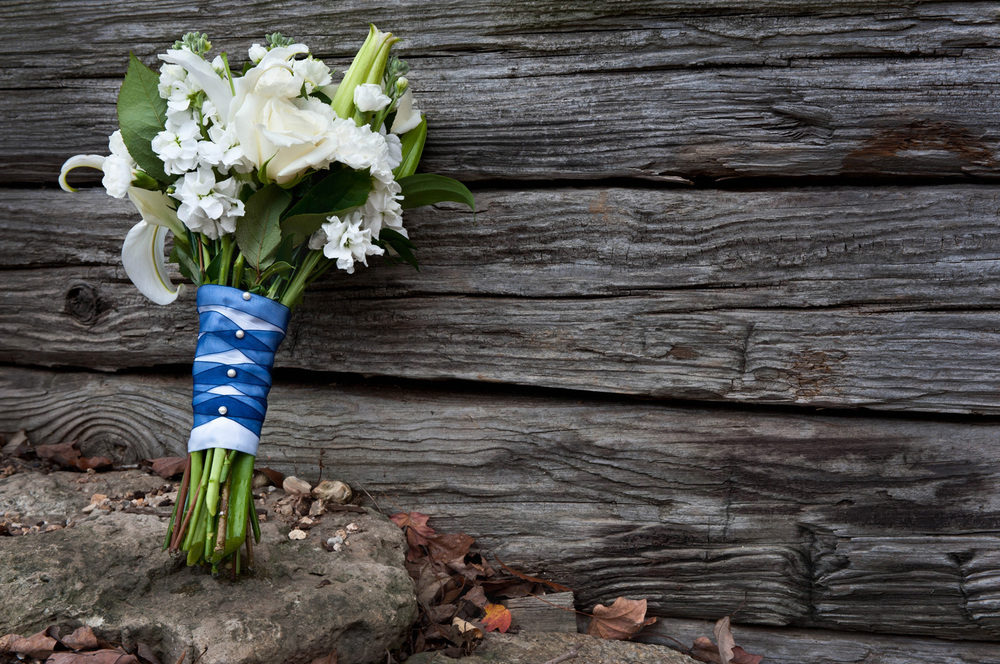 bridal bouquet with weathered wood background
