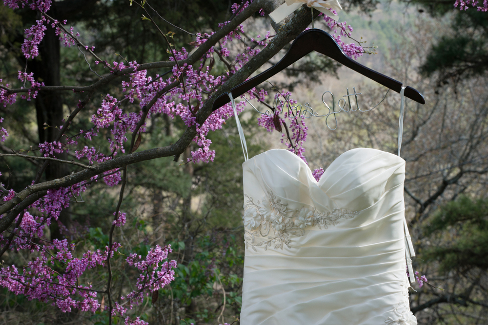 Bride's dress outdoors