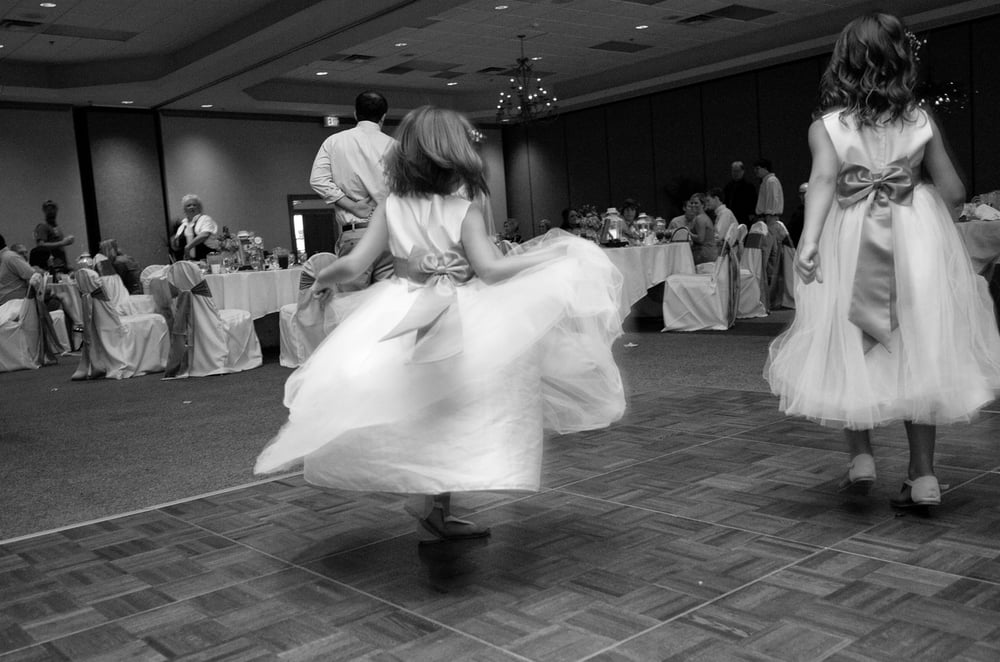 Wedding Reception, flower girls dancing