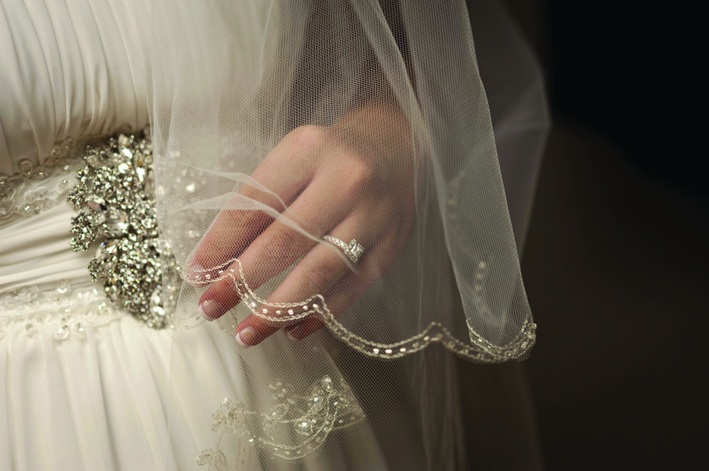 Bride's ring, veil and dress detail