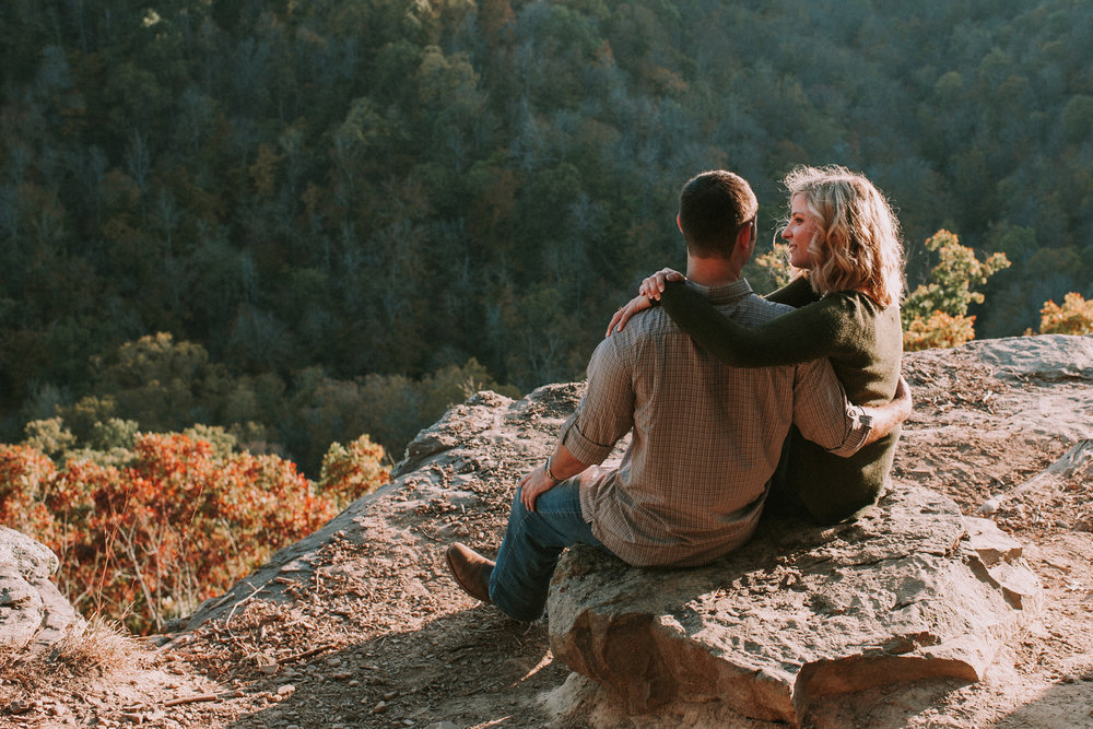 Couple at mountain top overlook in fall colors