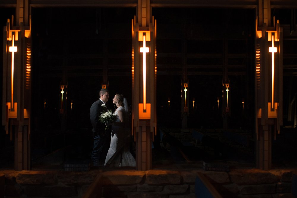Bride and Groom in Thorncrown Chapel