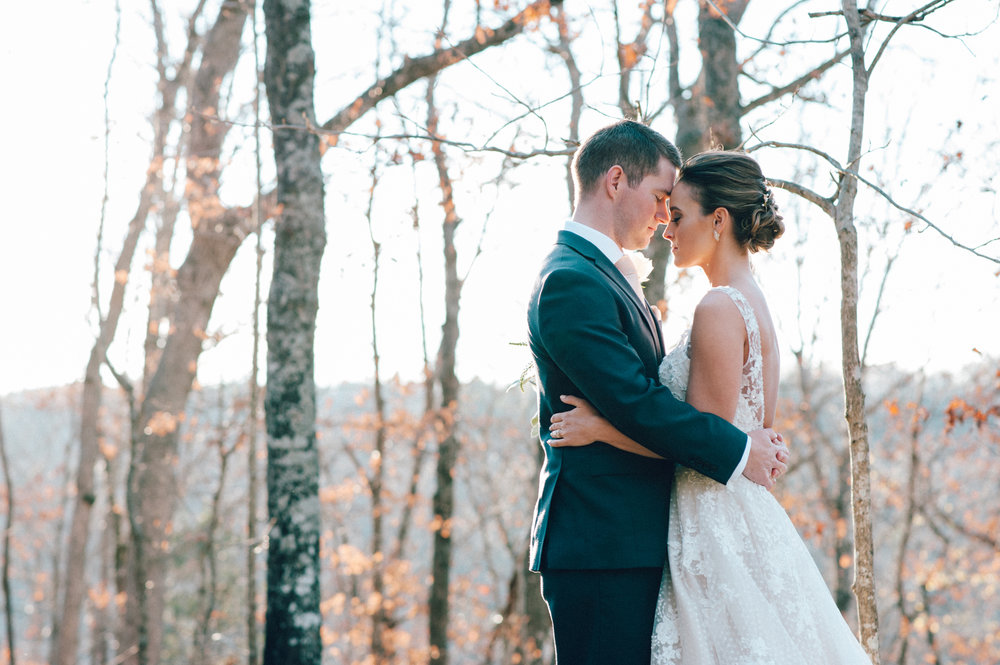 Bride and Groom in Fall