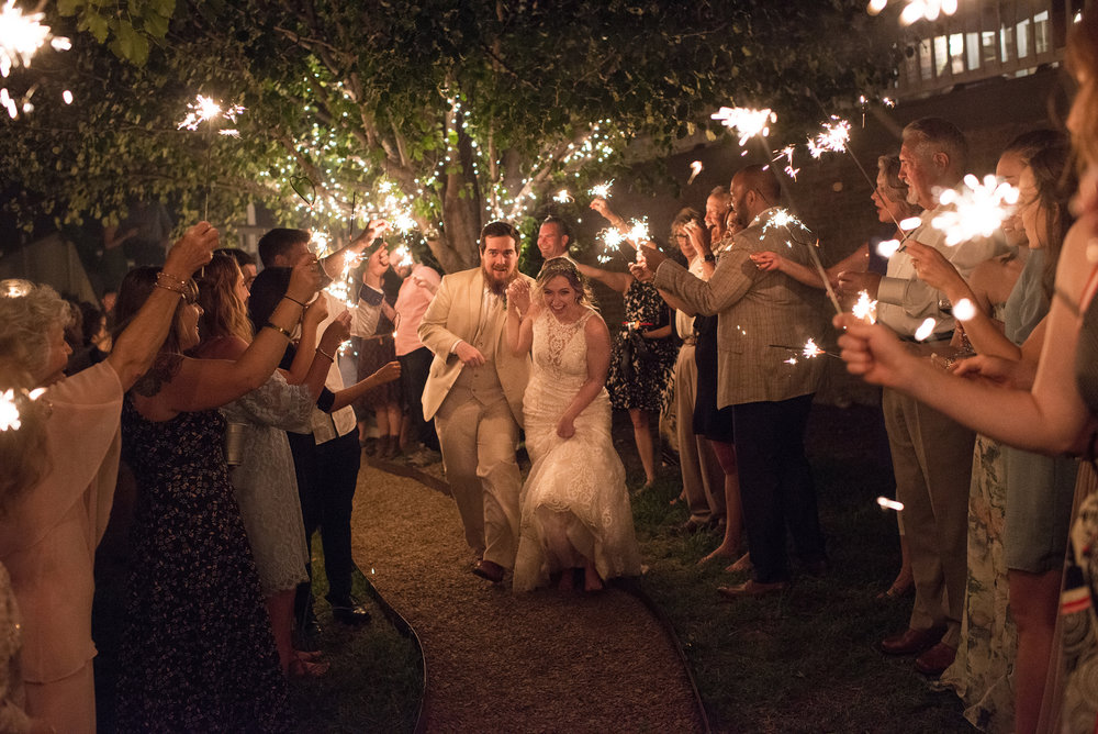 Wedding Couple and Sparkler exit