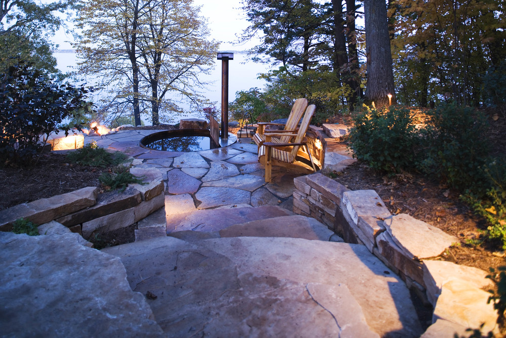flagstone patio overlooking lake