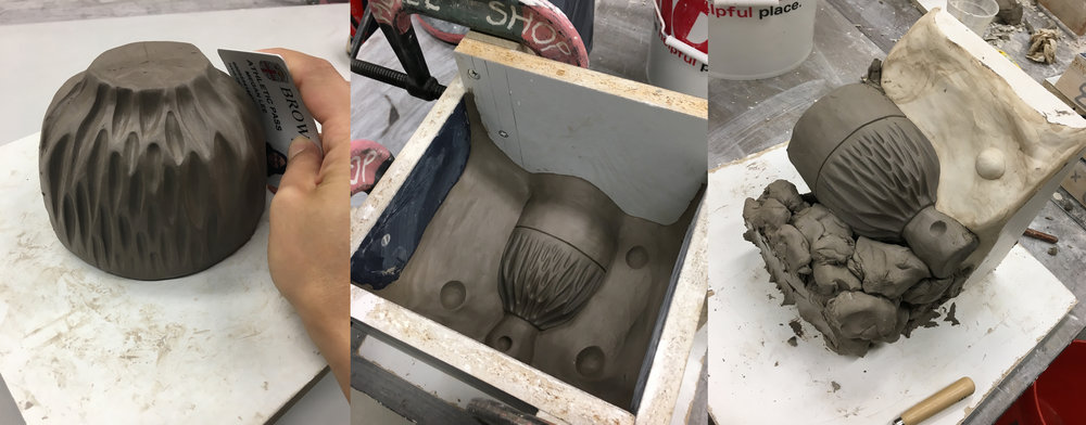 From left to right: Carving and shaping the texture, pouring the first part of four mold pieces, building up the clay body for the second mold pour.