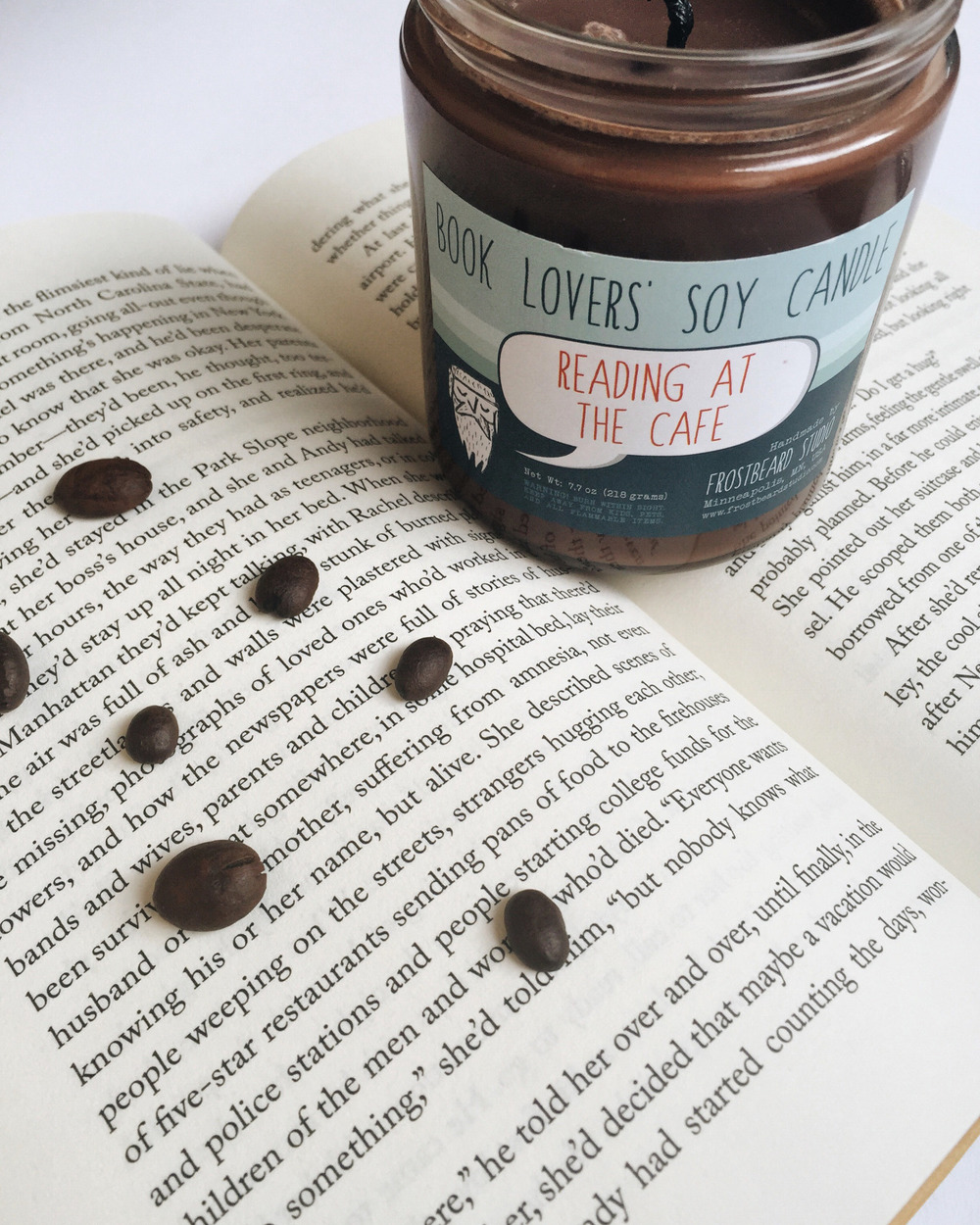 bookbaristas :     In LOVE with this scent! My room smells like a cafe mocha  ☕  👌    In addition to being obsessed with books and coffee, I have a real-life addiction to candles and  Frostbeard Studio  is going to ruin me for any other candles!     shop the scent  |  like this on bookstagram!        I'm thinking I definitely need one. One thing that will always bring me into a Barnes & Noble or any other bookstore that serves coffe with their books is the smell of new books and dark roast coffee. If I could capture a little of that at home…  A.M.