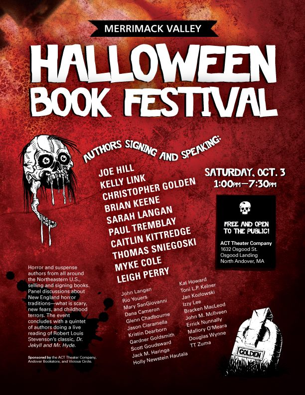 joehillsthrills: I'll be at this. Signing and doing a panel. More info here. I'll be in the lovely state of Massachusetts on Oct. 3rd. I plan to attend the Halloween Book Festival while we're there, as I'm a big fan of joehillsthrills work. My Locke & Key collection is ever-growing. A.M.