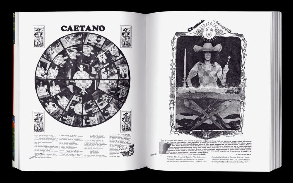 Spread from Rogério Duarte, Marginália 1. Left and right: Rogério Duarte, Tito de Lemon, Torquato Mendoca and Luis Carlos Maciel, drawing made by tropicalist Dicinho, Flor do Mal, 1971
