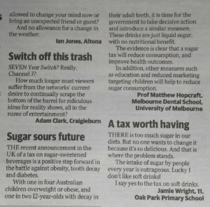 Letters to the Editor, Herald Sun 19 March 2016