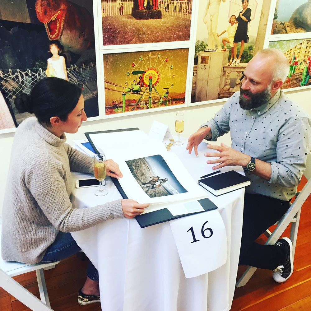 BLVDSelect member Tom Lindboe meets with photo editor Sarah Silberg of Wired Magazine.