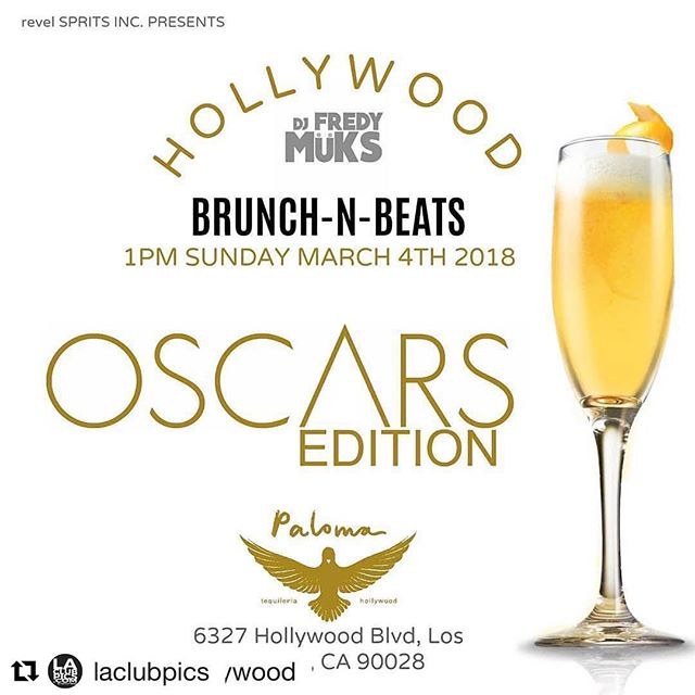 This #OscarsSunday come and get your pictures on the #redcarpet @  #hollywood's newest day party!!! What's an #Oscars celebration without a good brunch?! Let's Do it! @HollywoodBrunchnBeats is coming back to  #PalomaHollywood this Sunday starting at 1PM! 🎬🎞🥂 Live DJ set by @fredymuks. 🔊💃🏻🕺🏻 #Repost @palomahollywood #nightlife