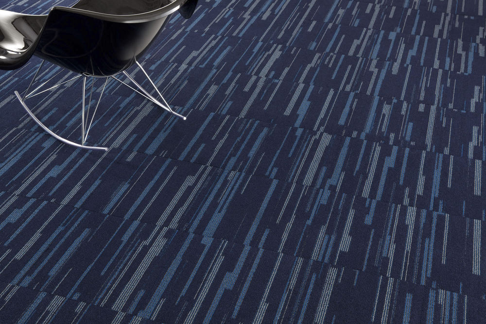 commercial carpet design. dark-blue-milliken-carpet-design-with-black-chair- commercial carpet design