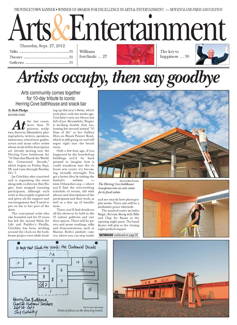 Feature on artists site-occupation exhibition,  Provincetown Banner,  September 27, 2012  A story in the arts section while I served as the Banner's arts editor.
