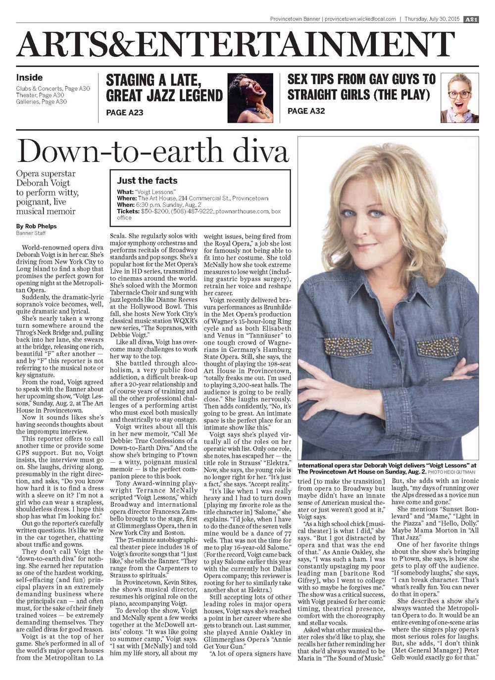 Interview with opera star Deborah Voigt  Provincetown Banner,  July 30, 2015