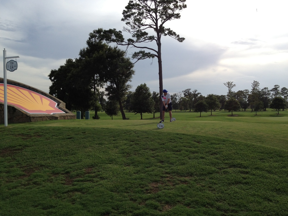 One of our member's tee'ing off at The Golf Club of Houston's 18th hole.