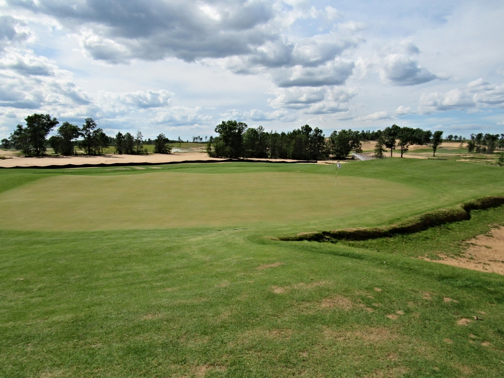 The view of Sand Valley's 3rd from the back of the green.
