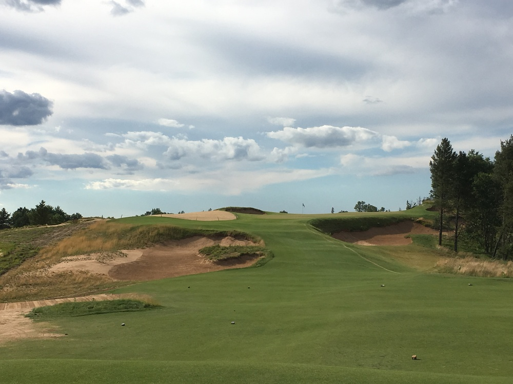 The challenging short par 3 8th at Sand Valley.