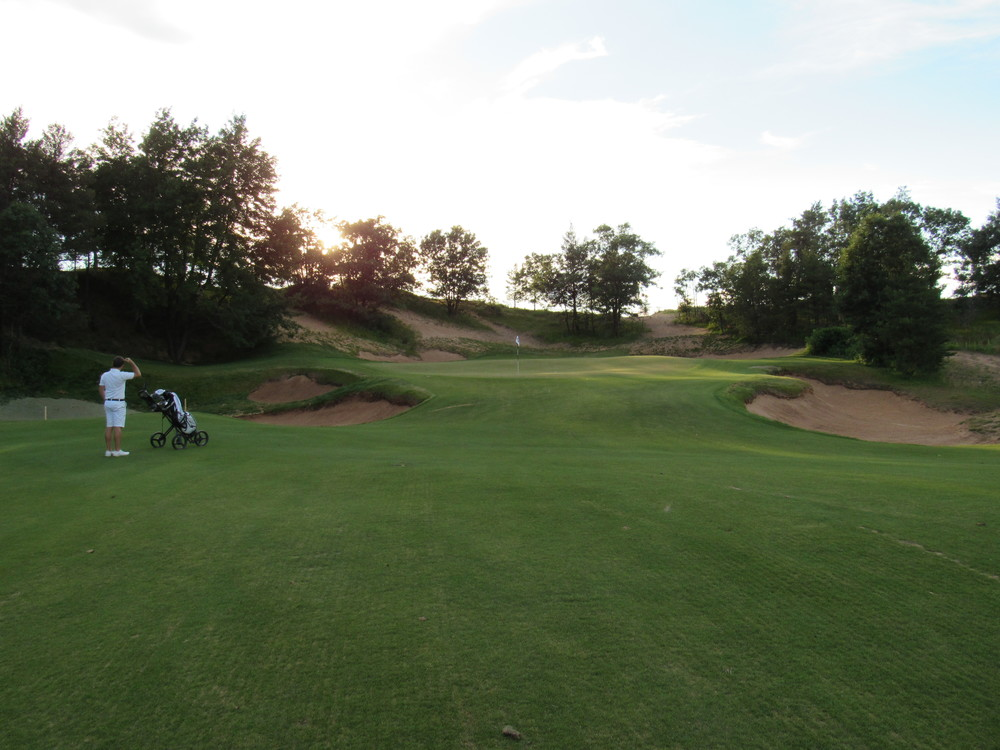The front pin on the 9th at Sand Valley allow players to use the heavy slope as a backboard.