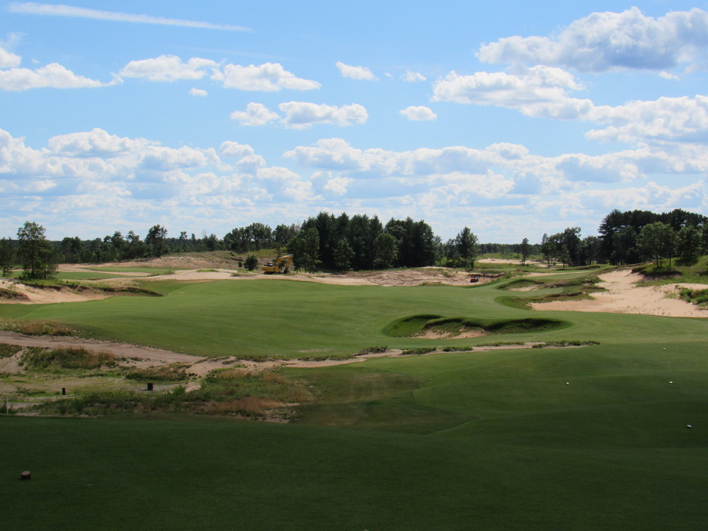 The 2nd tee shot at Sand Valley.