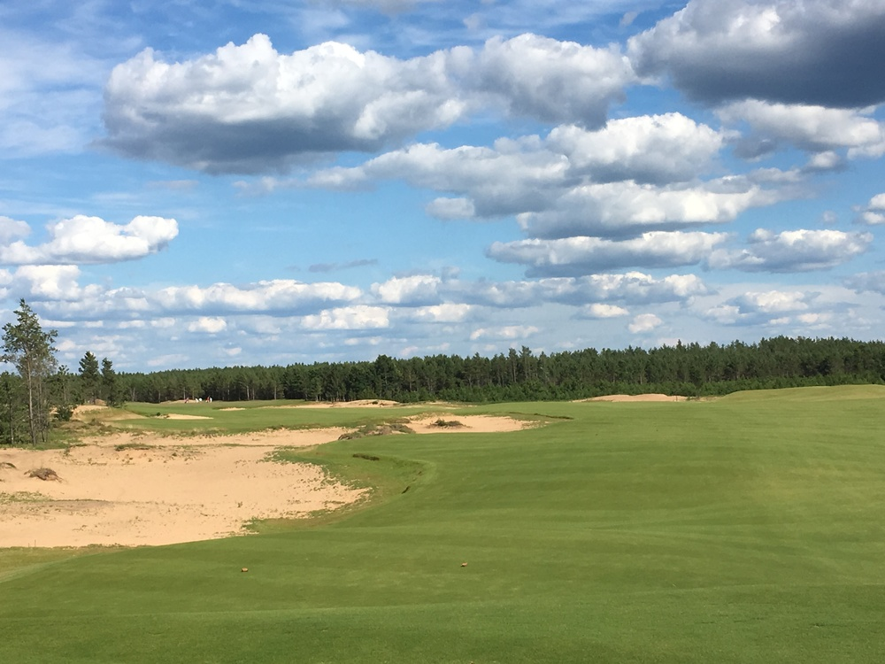 A look from the front of the 6th tee box at Sand Valley.