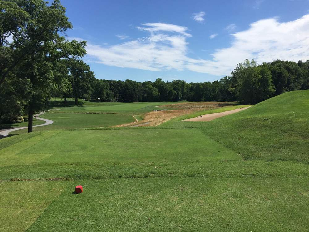 The tee shot at the beautiful 8th hole at St. Louis C.C. Photo Credit:  Kyle Truax