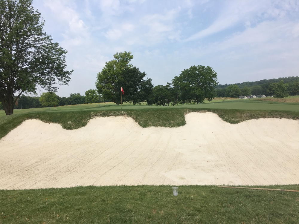 A look at the deep bunkering that guards the front of the 7th green.
