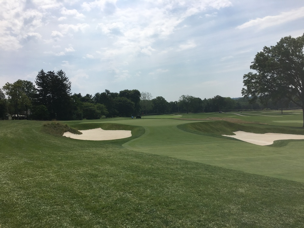 A look at the bunkering protecting the 8th green.